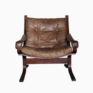Brown Leather Siesta Lounge Chair by Ingmar Relling for Westnofa, 1960s