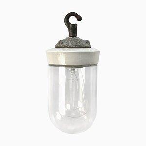 Deckenlampe aus Gusseisen & Porzellan, 1950er