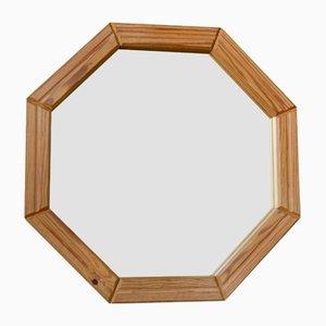 Espejo octogonal con marco de pino, años 60