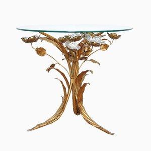 Tavolino Hollywood Regency in metallo dorato di Hans Kögl, anni '70