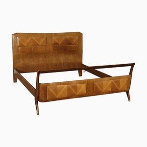 Sofá cama de haya y caoba, años 50