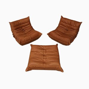 Vintage Leather Togo Living Room Set by Michel Ducaroy for Ligne Roset