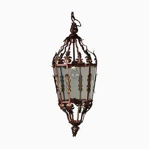 Antike italienische Deckenlampe aus Glas & Metall