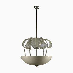 Italian Crystal Glass Ceiling Lamp, 1940s