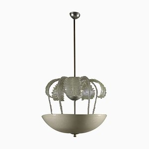 Lámpara de techo italiana de cristal, años 40