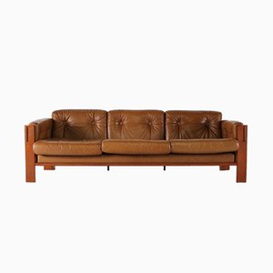 Sofá de tres plazas de cuero de JYDSK Interform Collection, años 70