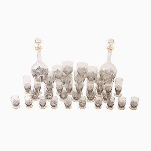 Vasos y decantadores Art Déco esmaltados a mano, años 20. Juego de 36
