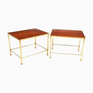 Mesas de cóctel italianas de palisandro y latón dorado, años 60. Juego de 2