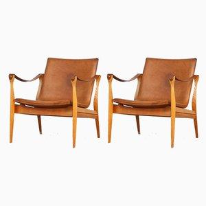 Dänische Safari Sessel aus Leder & Eiche von Karen & Ebbe Clemmensen für Fritz Hansen, 1960er, 2er Set