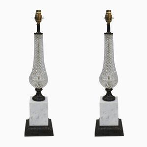 Italian Glass, Bronzed and Marble Table Lamps, 1970s, Set of 2