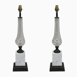 Lampade da tavolo in vetro, bronzo e marmo, Italia, anni '70, set di 2