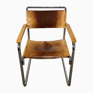 Mid-Century Leather B34 Dining Chair by Marcel Breuer for Thonet