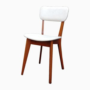 French Wood & Leatherette Side Chair, 1950s