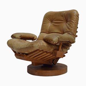 Brutalist Pine Fishbone Lounge Chair, 1970s