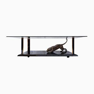 Brass Coffee Table with Sculptural Panther by Nicola Voci, 1970s