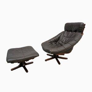 Sedia girevole con poggiapiedi, anni '60
