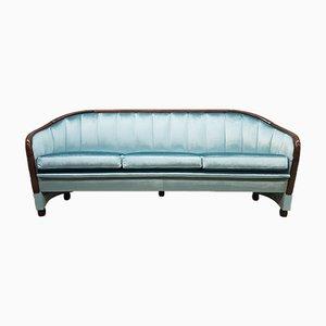 Sofá Art Déco de terciopelo azul, años 60