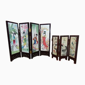 Biombos japoneses de madera y porcelana, años 50. Juego de 2