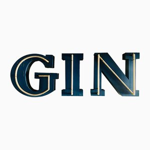 Neon Gin Letter Sign, 1970s