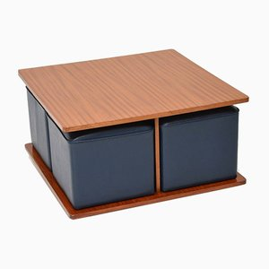 Mesa de centro de teca con taburetes azules, años 60. Juego de 5