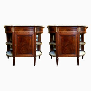 Antique Mahogany & Marble Console Tables, Set of 2