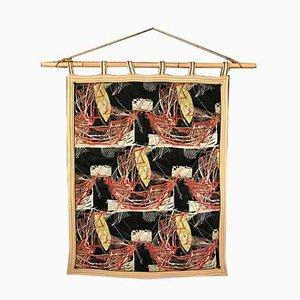 Italienischer Wandteppich mit Bambusstange, 1940er