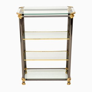 Italian Steel and Brass Bookcase, 1970s