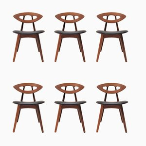 Model 84 Teak and Leather Dining Chairs by Ejvind Johansson for Ivan Gern Møbelfabrik, 1960s, Set of 6