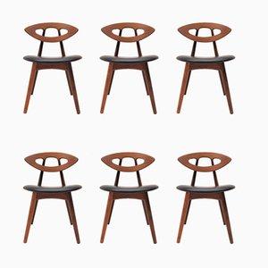 Modell 84 Esszimmerstühle aus Teak & Leder von Ejvind Johansson für Ivan Gern Møbelfabrik, 1960er, 6er Set