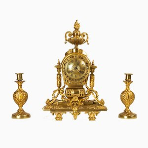 Antique French Louis XVI Gilt Clock and Candleholders by Japy Fréres, Set of 3