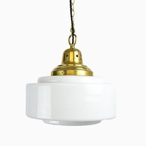 Lampe à Suspension Art Déco en Verre Opalin, années 30