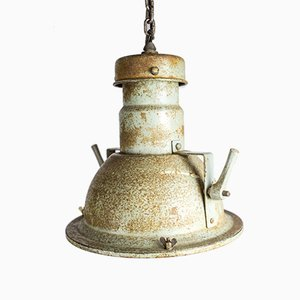 Lámpara colgante industrial de Holophane, años 40