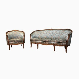 Antique Rococo Sofa and Armchair, Set of 2