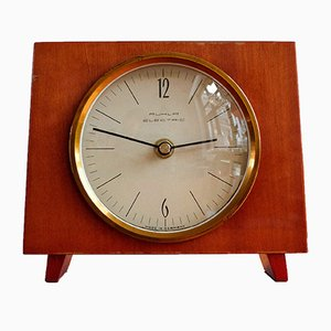 German Wooden Table Clock from Ruhla Electric, 1970s