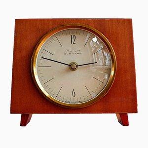 Reloj de mesa alemán de madera de Ruhla Electric, años 70