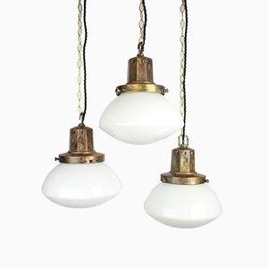Lampe à Suspension en Opaline, années 30