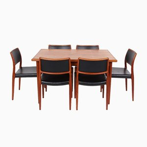 N080 Dining Chairs & Dining Table by Niels Otto Møller for J.L. Møllers, 1970s, Set of 7