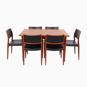 Sillas de comedor y mesa de comedor N080 de Niels Otto Møller para J. L. Møllers, años 70. Juego de 7