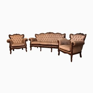 Antique Rococo Sofa and Armchairs, Set of 3