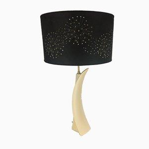 Lámpara de mesa de cerámica Concorde Mid-Century blanca de cerámica