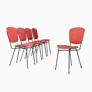 Chaises de Salle à Manger en Fer & Tissu de Doro Cuneo, années 60, Set de 5