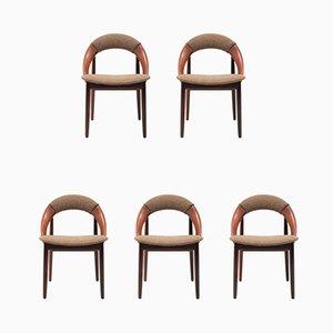 Chaises de Salle à Manger en Teck par Arne Hovmand-Olsen, Danemark, années 60, Set de 5