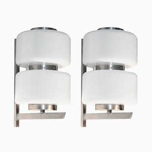 White Sconces, 1970s, Set of 2
