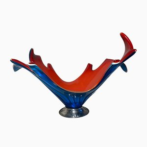 Red and Blue Murano Glass and Metal Centerpiece, 1970s