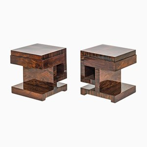 French Art Deco Rosewood Nightstands, 1930s, Set of 2