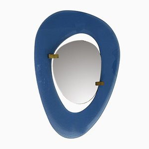 Blue-Framed Asymmetrical Mirror by Max Ingrand for Fontana Arte, 1950s