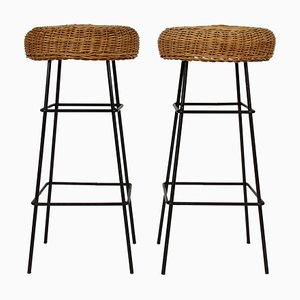 Wicker & Steel Stools, 1960s, Set of 2