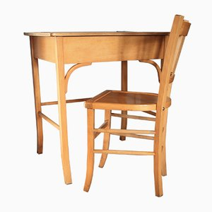 Wooden Desk & Chair from Baumann, 1950s, Set of 2