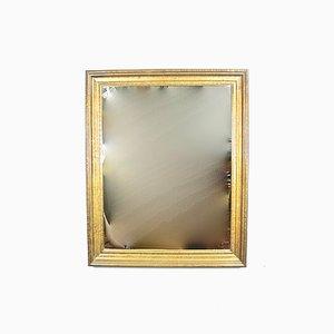 Specchio in ottone e legno, anni '70