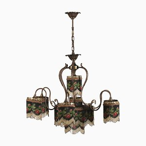 Vintage Italian Liberty Glass and Brass Chandelier